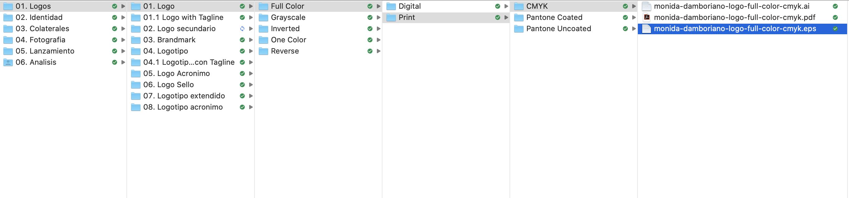 Organización de una carpeta con logotipos y archivos de marca. Por lo general se pueden organizar por contenido, por uso y/o color. Por lo general yo uso la misma jerarquía con todos mis clientes, la encuentro más sencilla y al final mi objetivo es facilitar la búsqueda de los archivos de marca que necesitan cuando los necesitan.